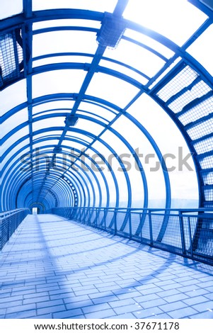 futuristic interior of the pedestrians bridge - stock photo