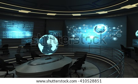 Futuristic interior view of dark office with holographic screens. 3D rendering - stock photo