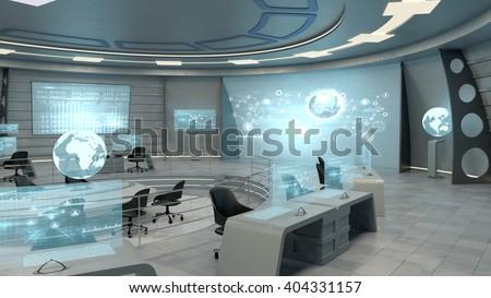 Futuristic Interior View Office Holographic Screen Stock