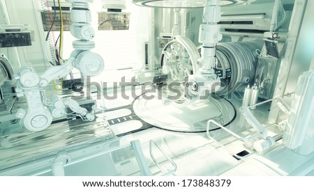 futuristic lab as part of huge medical complex - stock photo