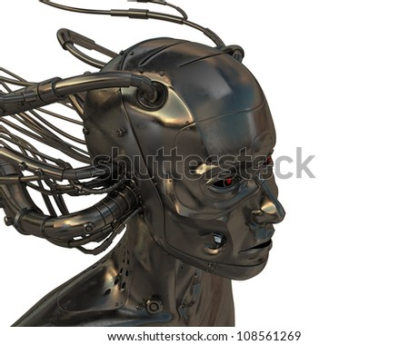 Futuristic lady connected with multiple cables - stock photo