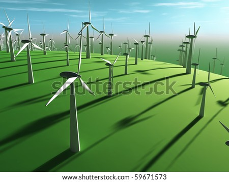 futuristic landscape with wind turbine - stock photo