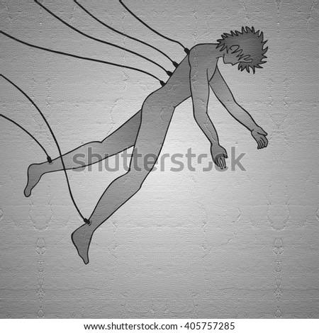 futuristic man scene - stock photo