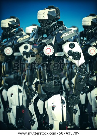 Futuristic Mechanized Police Robots Standing Ready 3d Rendering Illustration
