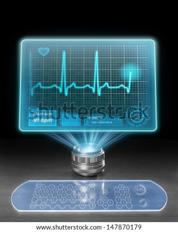 Futuristic medical computer with holographic screen displaying ECG. - stock photo