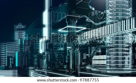 futuristic megalopolis4 - stock photo