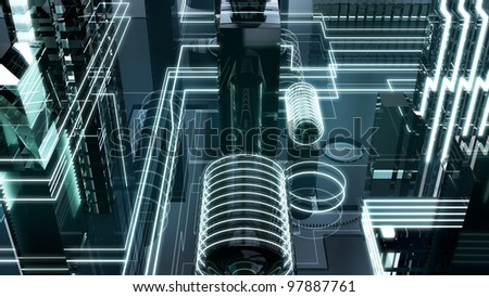 futuristic megalopolis2 - stock photo