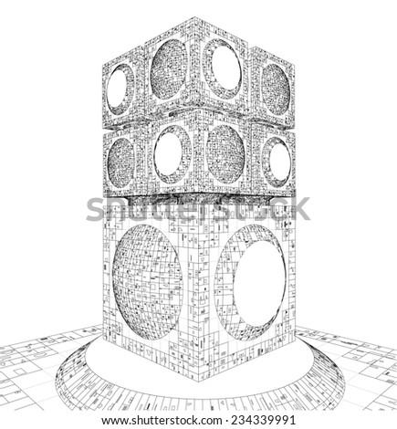 Futuristic Megalopolis City Skyscraper Structure 301 - stock photo