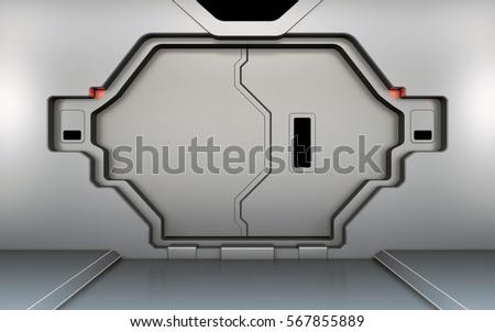 Futuristic metallic door, gate or entrance in spaceship interior 3D rendering