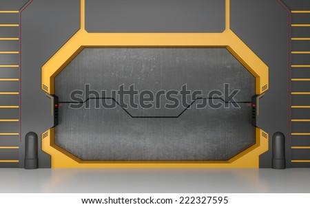 Futuristic metallic door or gate on yellow wall - stock photo