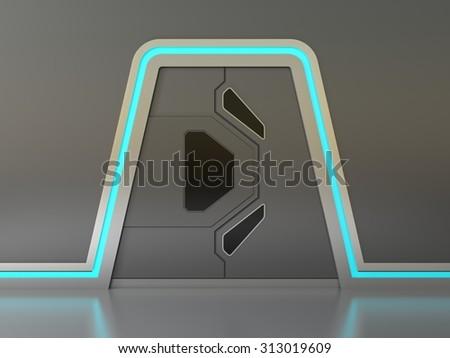 Futuristic metallic door or gate with blue lights - stock photo