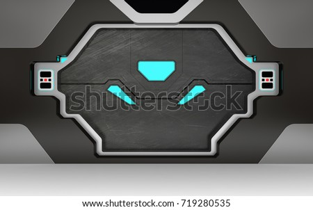 Futuristic metallic door or gate with blue lights 3D render