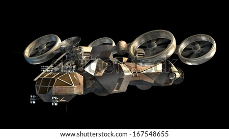 Futuristic military battleship with helicopter-like propellers for alien fantasy games or science fiction backgrounds of interstellar deep space travel.Clipping path included in the .jpg file. - stock photo