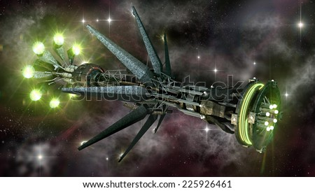 Futuristic military spacecraft in the initiating state of a warp drive,  on a galactic star field, for alien fantasy games or science fiction backgrounds of interstellar deep space travel - stock photo