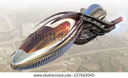 Futuristic military spacecraft or surveillance drone for alien fantasy games or science fiction backgrounds of interstellar deep space travel. - stock photo