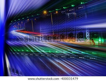 futuristic mix of modern disk storage, night city highway and blur - stock photo