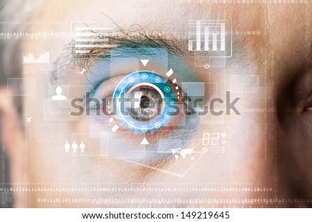 Futuristic modern cyber man with technology screen eye panel concept - stock photo