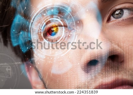Futuristic modern cyber man with technology screen eye panel concept