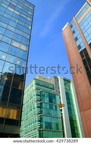 Futuristic modern glass skyscrapers in the city of Birmingham, England, UK - stock photo