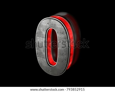 Futuristic number 0 - black metallic extruded letter with red light outline glowing in the dark 3D render