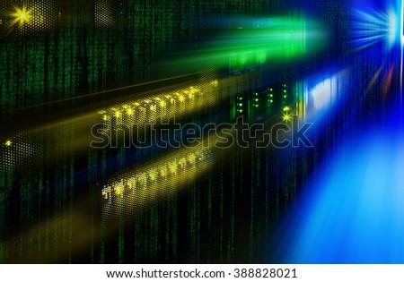 futuristic photo supercomputer in the data center with binarre code - stock photo