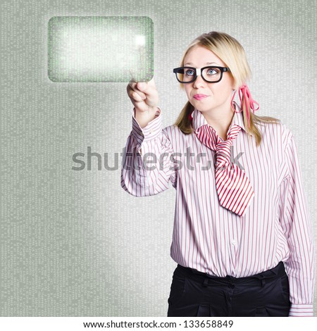 Futuristic portrait of a technology savvy businesswoman pressing digital interface button when networking online - stock photo