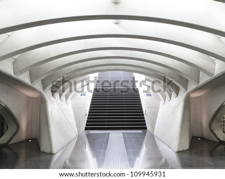Futuristic railway station - stock photo