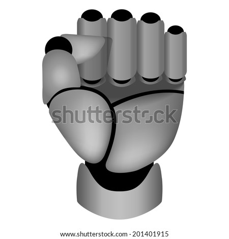 Futuristic, raised up clenched cyborg hand  - stock photo
