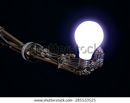 futuristic robot holding a lightbulb - stock photo