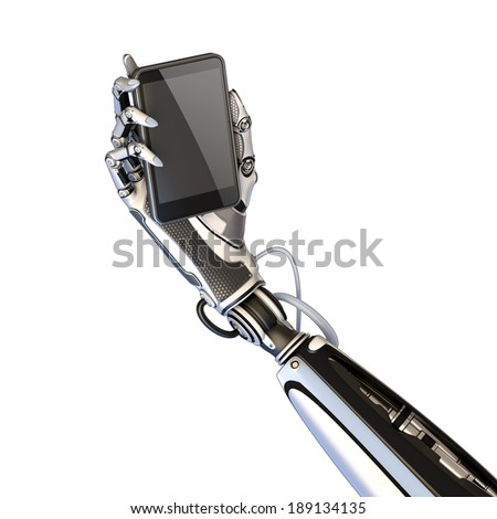 Futuristic robot holding glossy smartphone with artifical hand isolated on white background  - stock photo