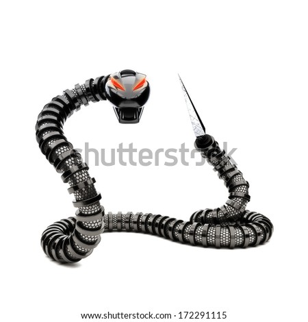 Futuristic robot snake on a white background. Danger concept. - stock photo