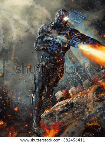 Futuristic Robot Soldier  - stock photo