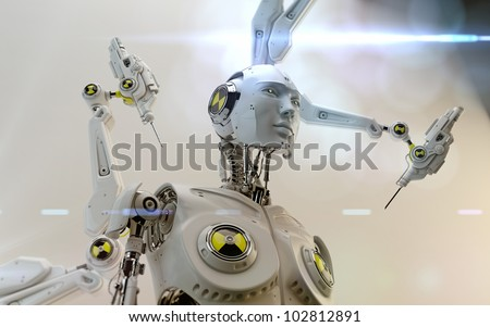 Futuristic robot with danger signs assembling by robotic instrument / Stylish robot assemble - stock photo
