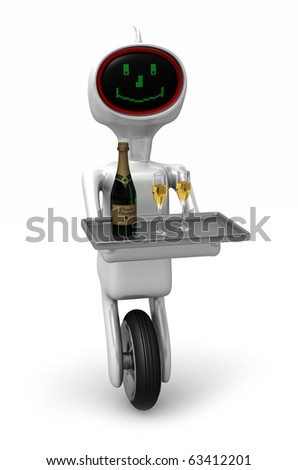 Futuristic robotic butler bringing champagne and glasses. Isolated on white - stock photo