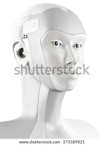 Futuristic robotic head in side view. Isolated on white background. - stock photo