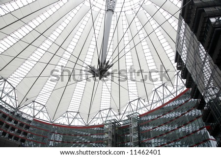 Futuristic roof over contemporary architecture Sony Center - Potsdamer Place - Berlin - Germany.