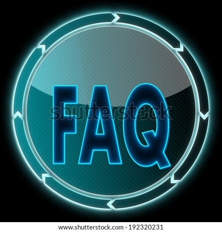 futuristic round button with a faq sign on it and circular arrows on black background