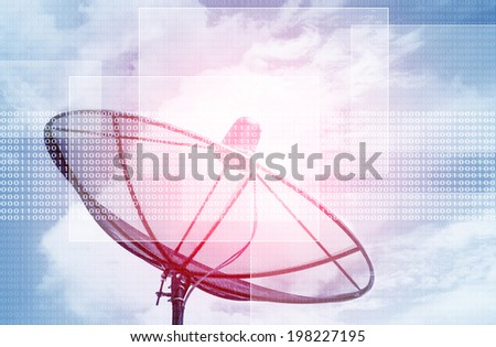 Futuristic Satellite Dish background,For Technology,Digital Concept With Screen For Text And Ideas - stock photo