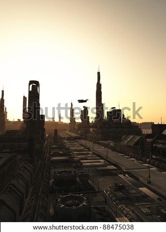 Futuristic sci-fi city streets at sunrise, 3d digitally rendered illustration - stock photo
