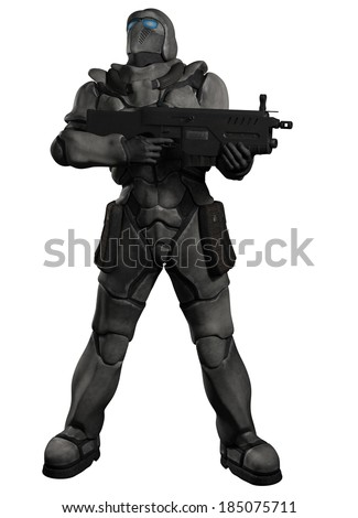 Futuristic sci-fi space marine trooper with heavy rifle looking up and watching the sky, 3d digitally rendered illustration - stock photo