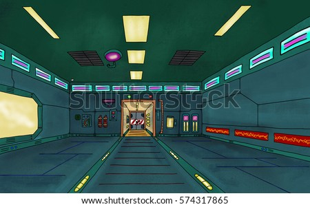 Futuristic sci-fi space station interior scene. Video Game, Digital CG Artwork, Concept Illustration. US Animated Cartoon Style Background