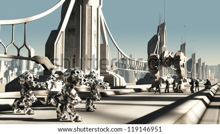 Futuristic science fiction battle droids and space marines fighting for control of a skyway bridge, 3d digitally rendered illustration - stock photo