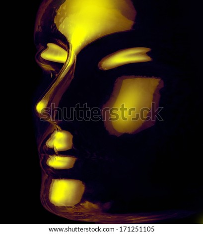 futuristic science theme showing a opalescent and translucent reflective human head made of glass in black back - stock photo