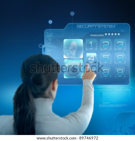 Futuristic security system with businesswoman - stock photo