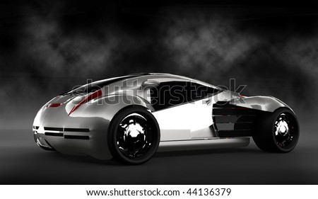 Futuristic silver concept sports car isolated in smoke filled studio
