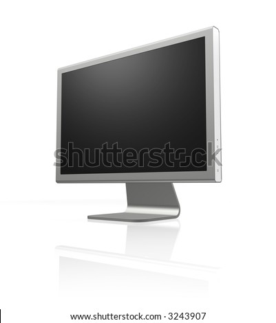 futuristic silver monitor on white with reflection and blank screen - stock photo