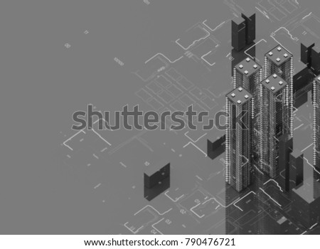 Futuristic skyscrapers in the flow. The flow of digital data. city of the future. 3D illustration. 3D rendering. Black and white