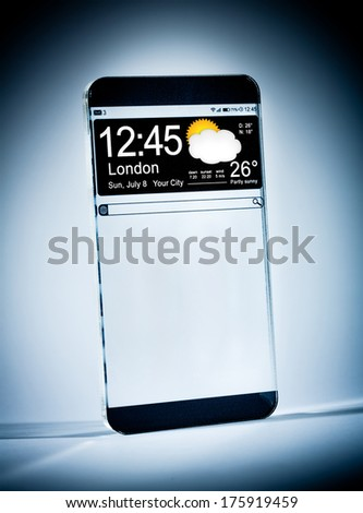 Futuristic Smart phone (copy space display) with a transparent display on a blue background. Concept actual future innovative ideas and best technologies humanity. - stock photo