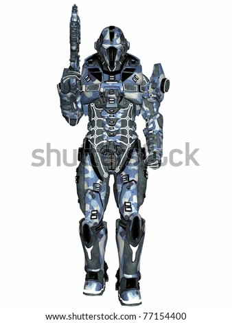 Futuristic soldier - stock photo