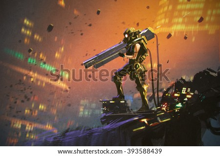 futuristic soldier in yellow suit with gun,illustration painting - stock photo